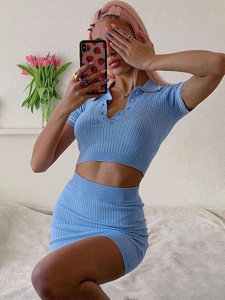 Jurllyshe Knitting Shirt Collar Button Up Crop Top With Skirt Set