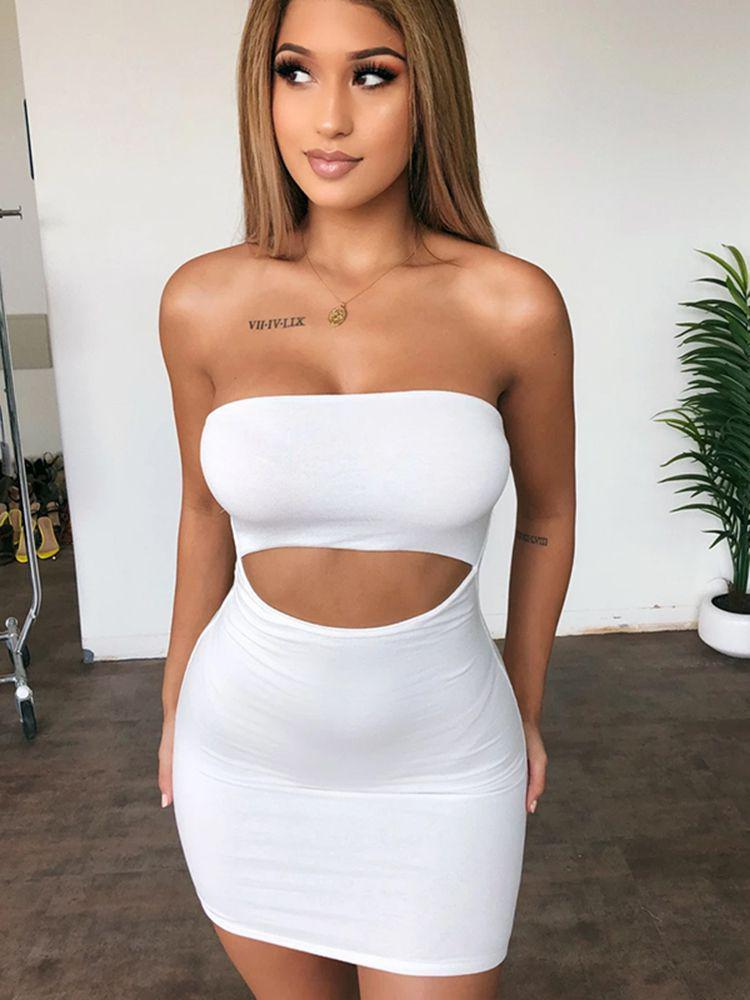 Jurllyshe Sexy Hollow Out Bodycon Tube Dress