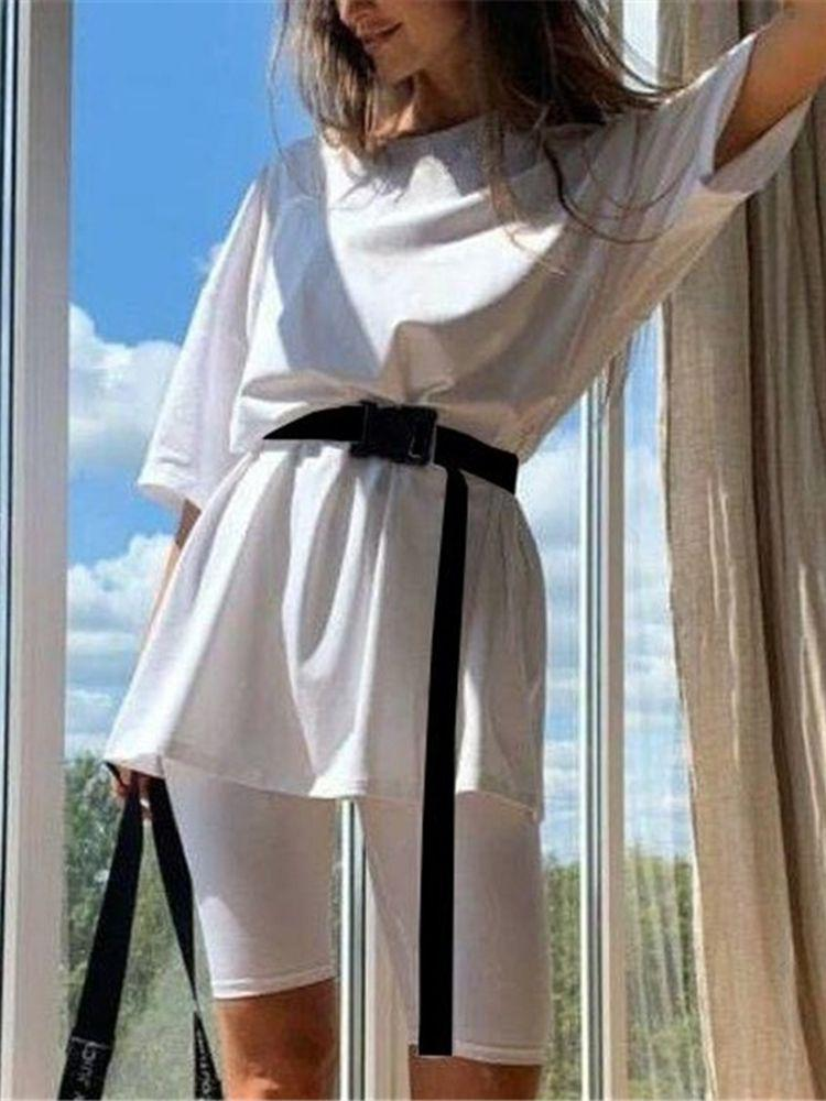 Jurllyshe Casual Solid Color Loose Shirt With Shorts Set (With Belt)