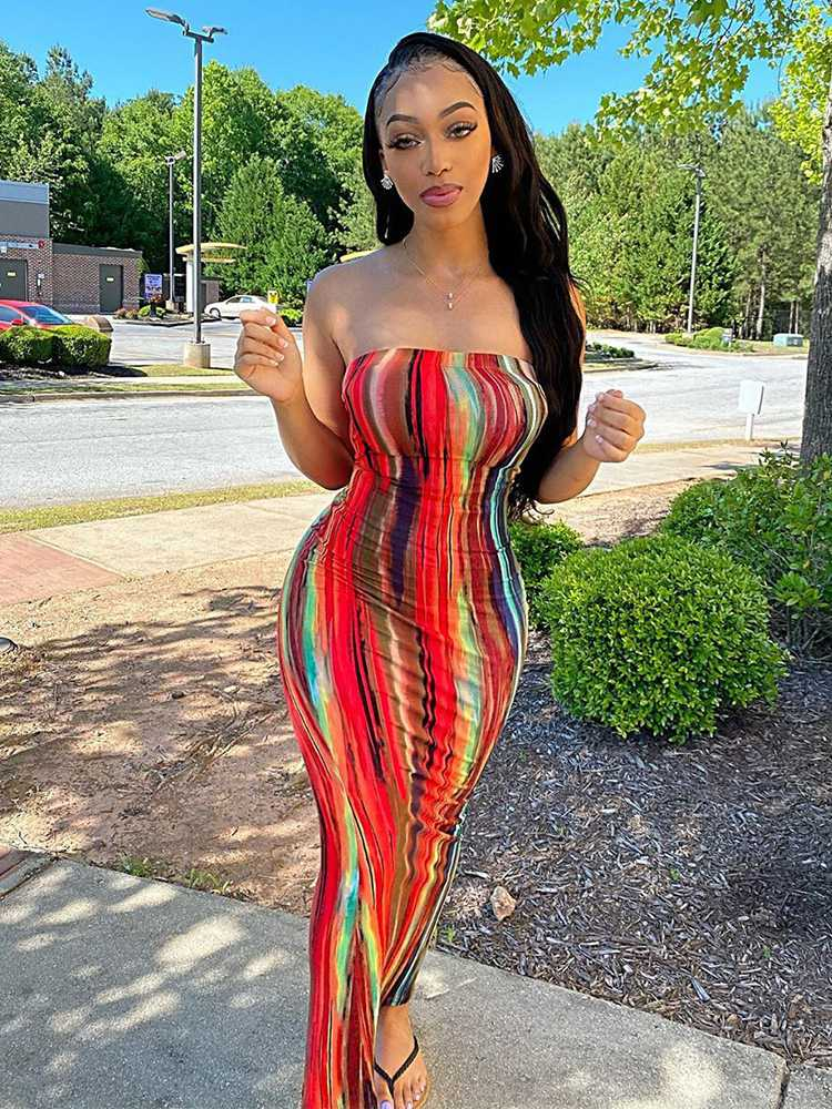 Jurllyshe Colorful Tie Dye Printed Work Of Art Sleeveless Maxi Slim Tube Bodycon Dress