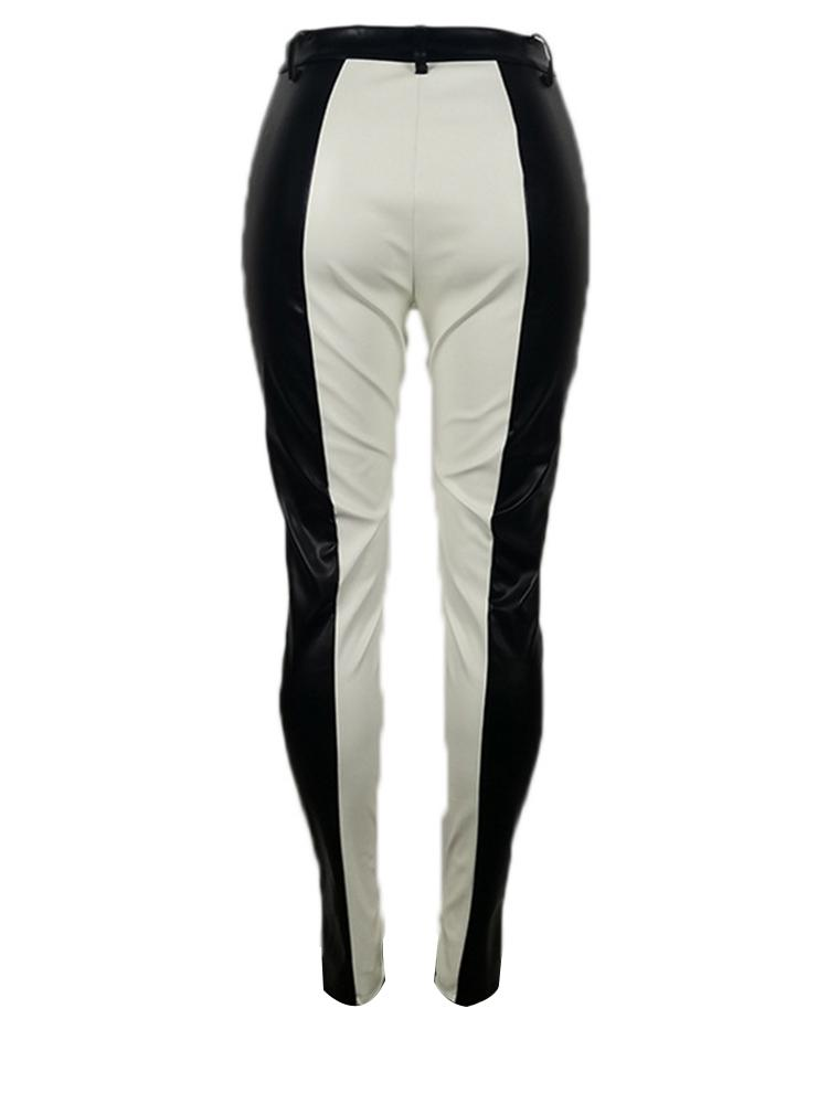 Jurllyshe Contrast Color Splicing Fashion Leather High Waist Pants