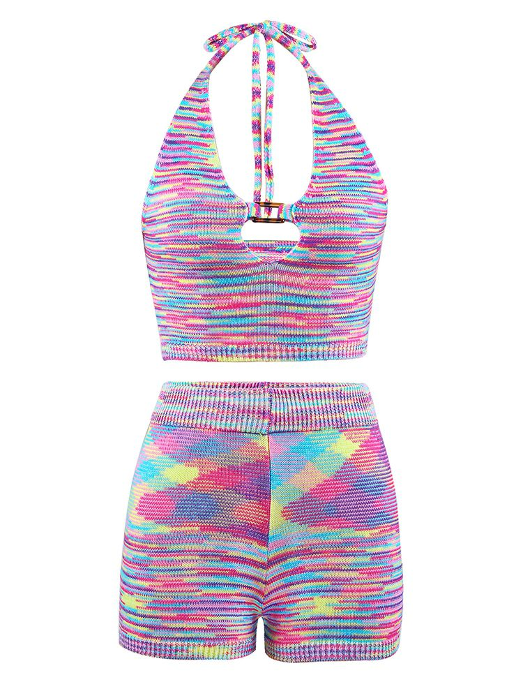 Jurllyshe Contrast Hollow Out Halter Knit Crop Top With Knit Shorts Set