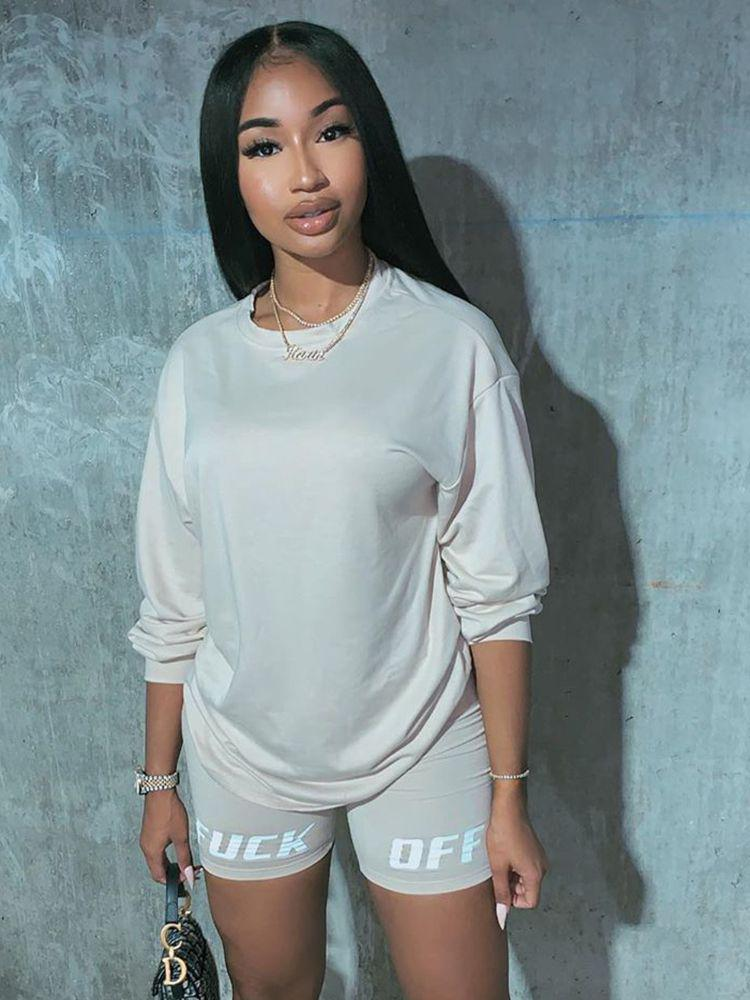 Jurllyshe Crew Neck Loose Top Letter Printed With Shorts Set