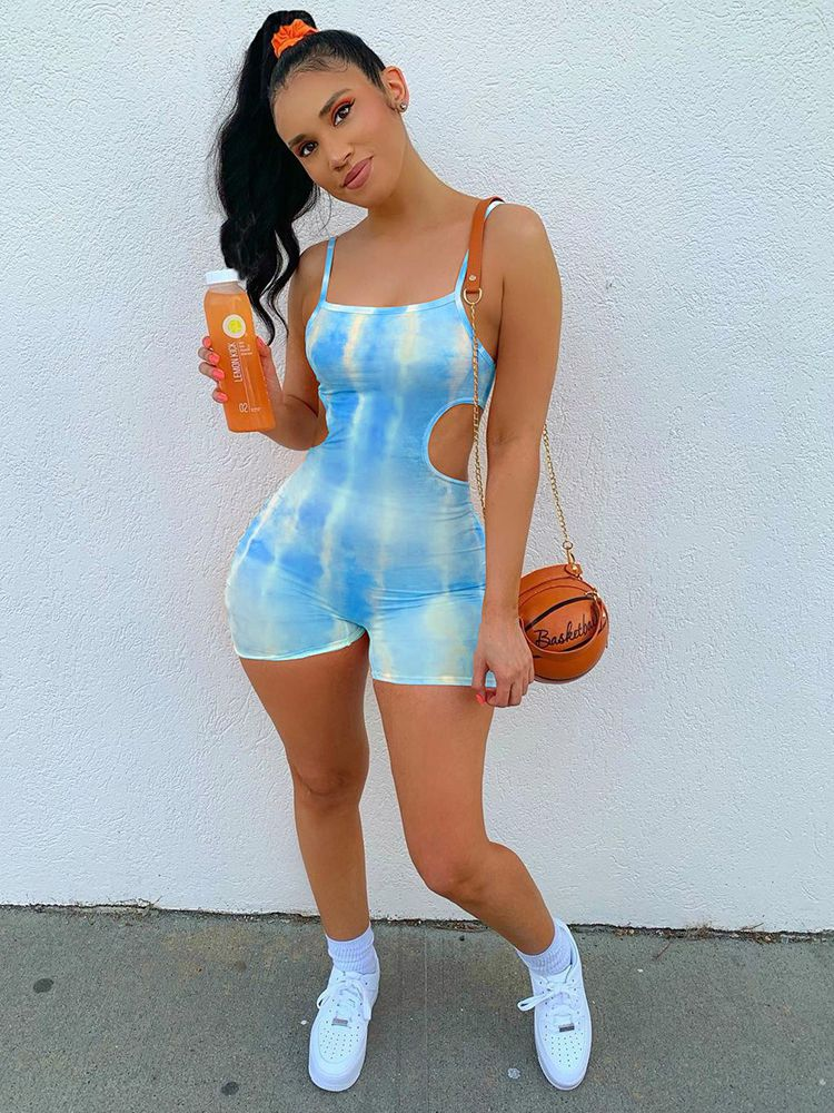 Jurllyshe Fashion Casual Cut Out Strap Tie Dyed One Piece Romper