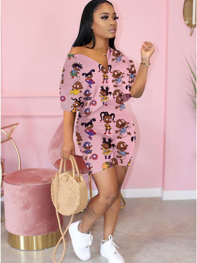 Jurllyshe Fashion Sexy Printed Top With Shorts Set