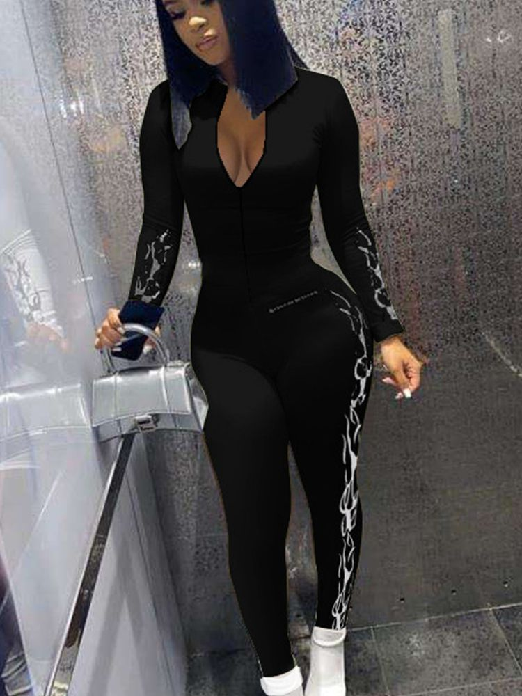 Jurllyshe Fire Print Chest Zipper Tight Buttock Long Sleeve Sexy Jumpsuit
