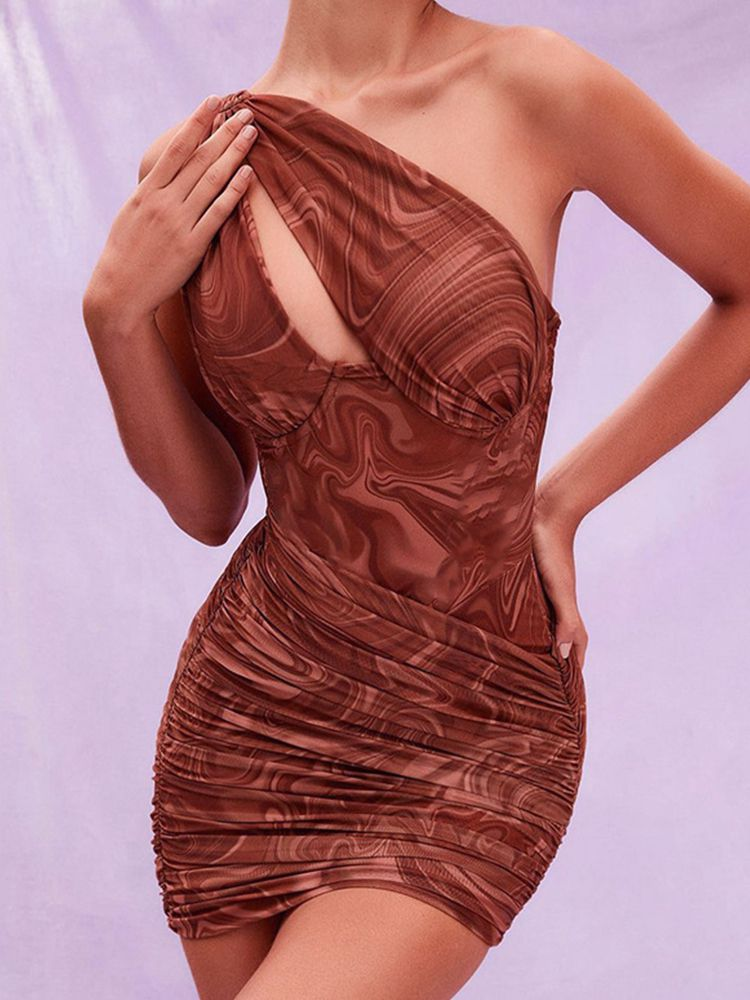 Jurllyshe Party Dresses Pleated Oblique Shoulder Sleeveless Sexy Bodycon Dress