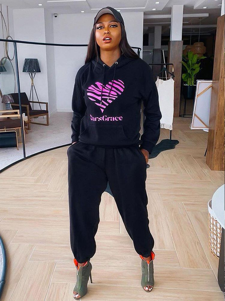 Jurllyshe Heart Shaped Printed Sweater With Elastic Pockets Casual Pants Set