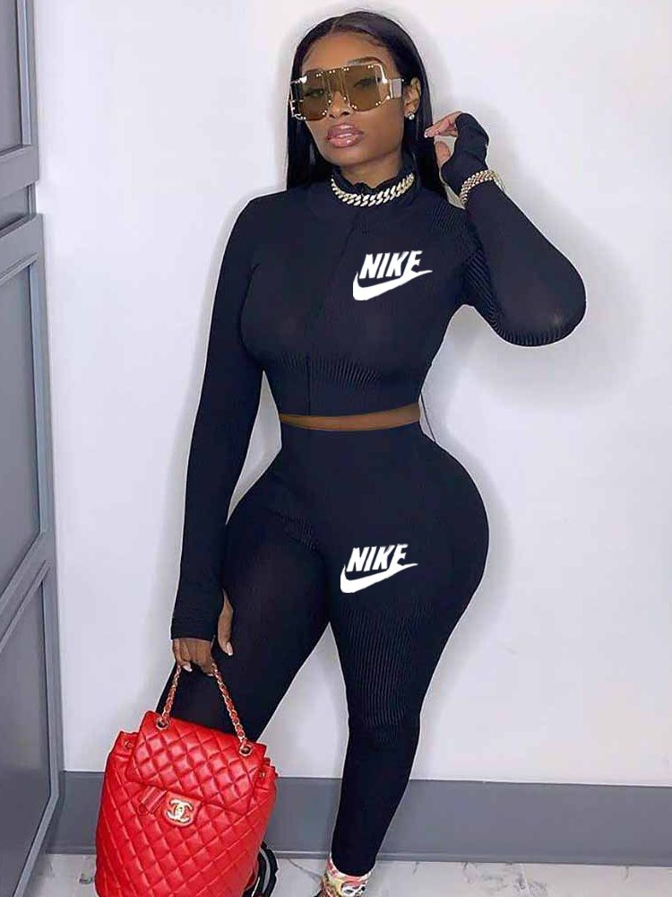 Jurllyshe Knitted Rib Super Soft High Elastic Letter Embroidery Sports Casual Top With Pants Set
