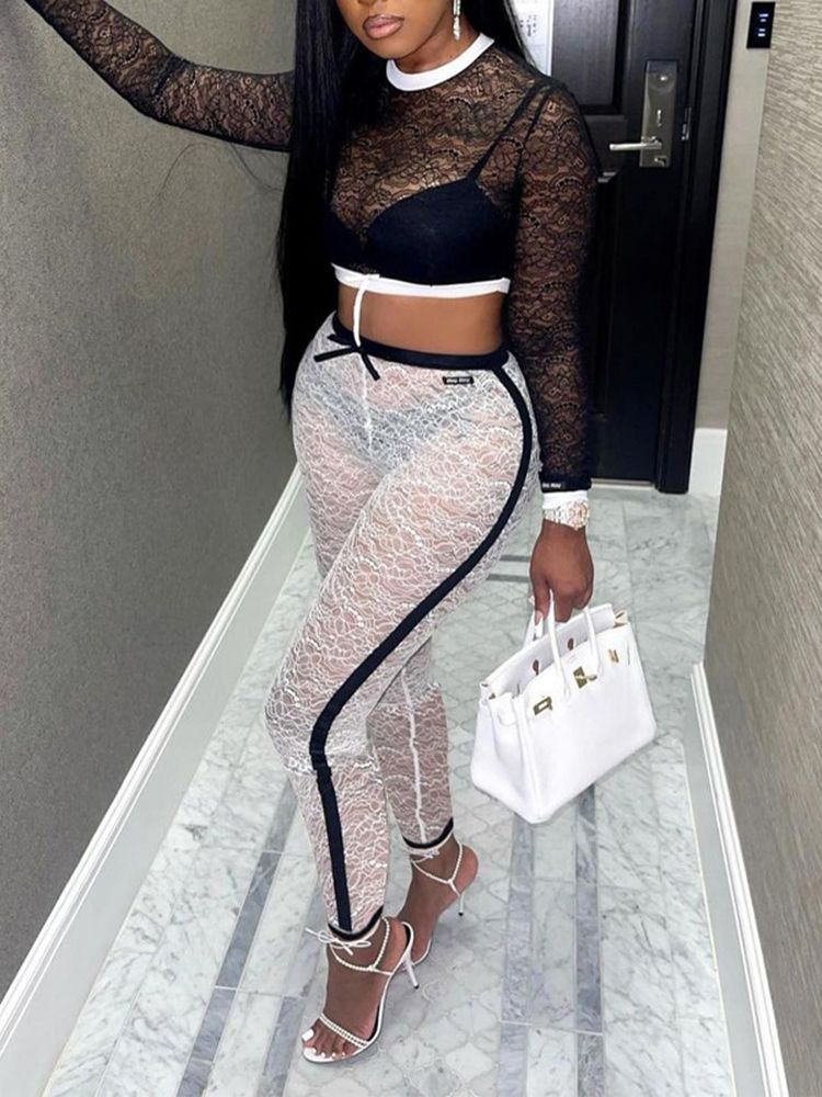 Jurllyshe Lace Long Sleeve Crop Top With Hollow Out Pants Set