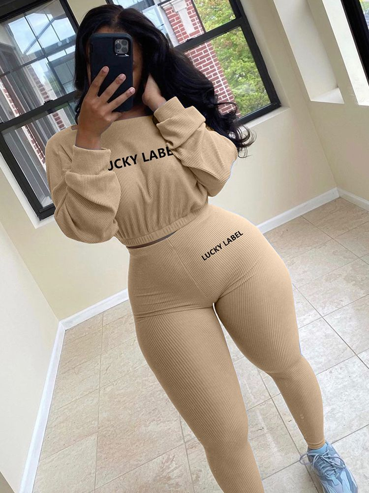 Jurllyshe Lucky Label Letter Embroidery Round Neck Long Sleeve Crop Top With Solid Pants Set