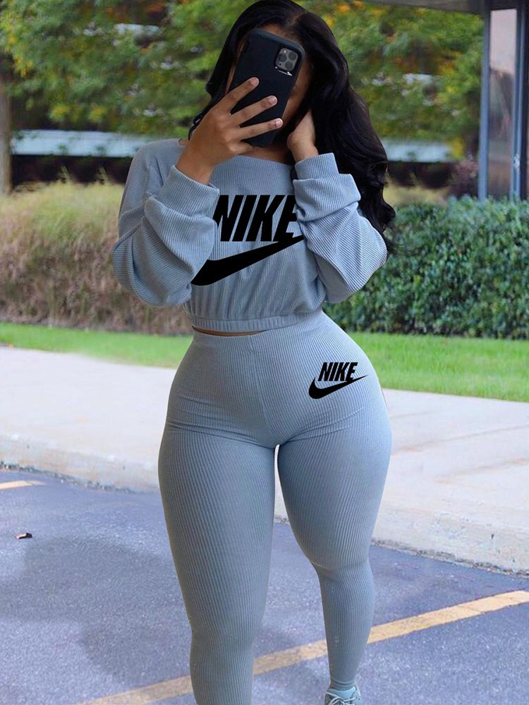 Jurllyshe Letter Printed Round Neck Long Sleeve Top With Sportswear Pants Set