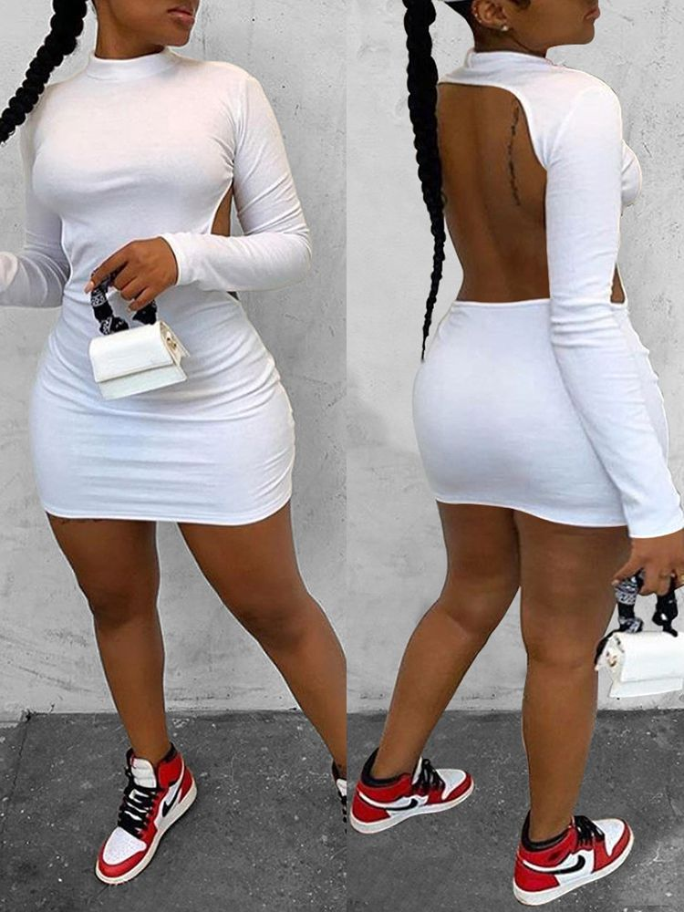 Jurllyshe Long Sleeve Solid Color High Neck Backless Sexy Bodycon Dress