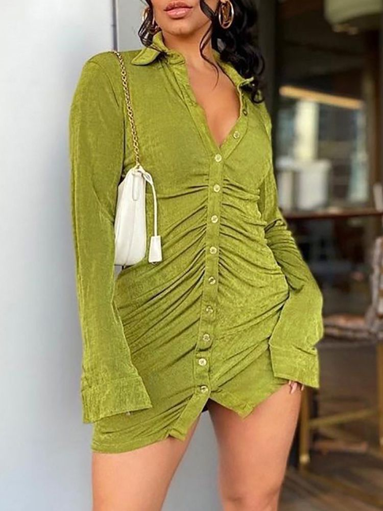 Jurllyshe Long Sleeve Solid Color Polo Neck Sexy Pleated Mini Dress