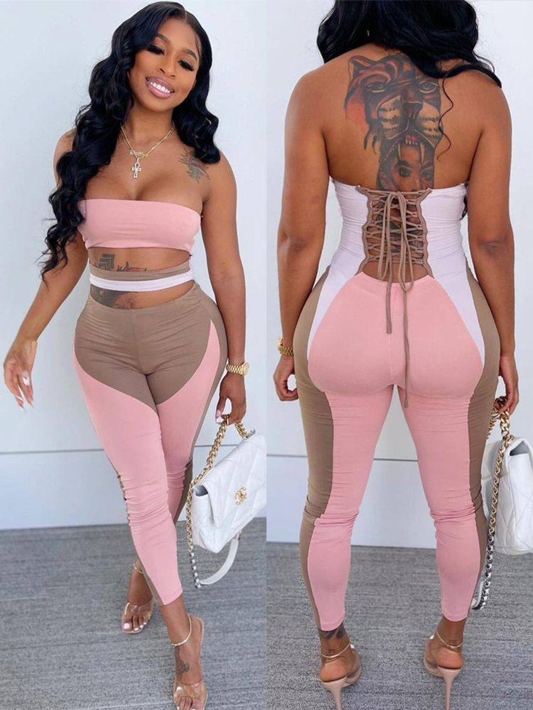 Jurllyshe Low Cut Hollow Bandage Backless Sexy Tube Jumpsuit
