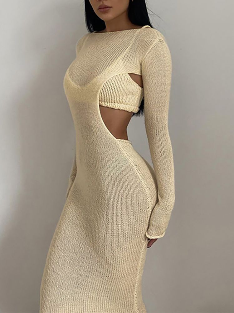 Jurllyshe Mesh Knit Round Neck Open Back Long Dress With Crop Top Two-piece Set
