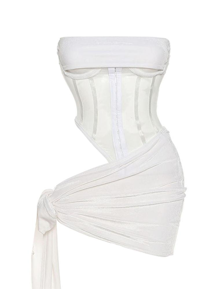 Jurllyshe Mesh Perspective Hollow Out Sleeveless Splicing Corset Top With Skirt Set