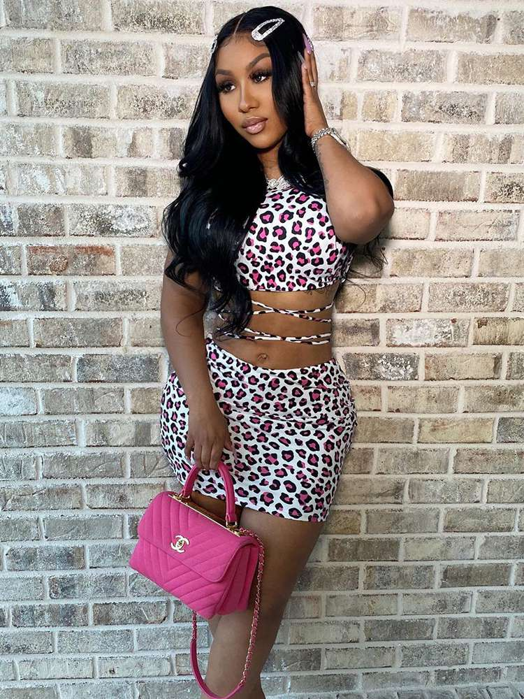 Jurllyshe Neckband Leopard Print Top With Sexy Casual Skirt Set