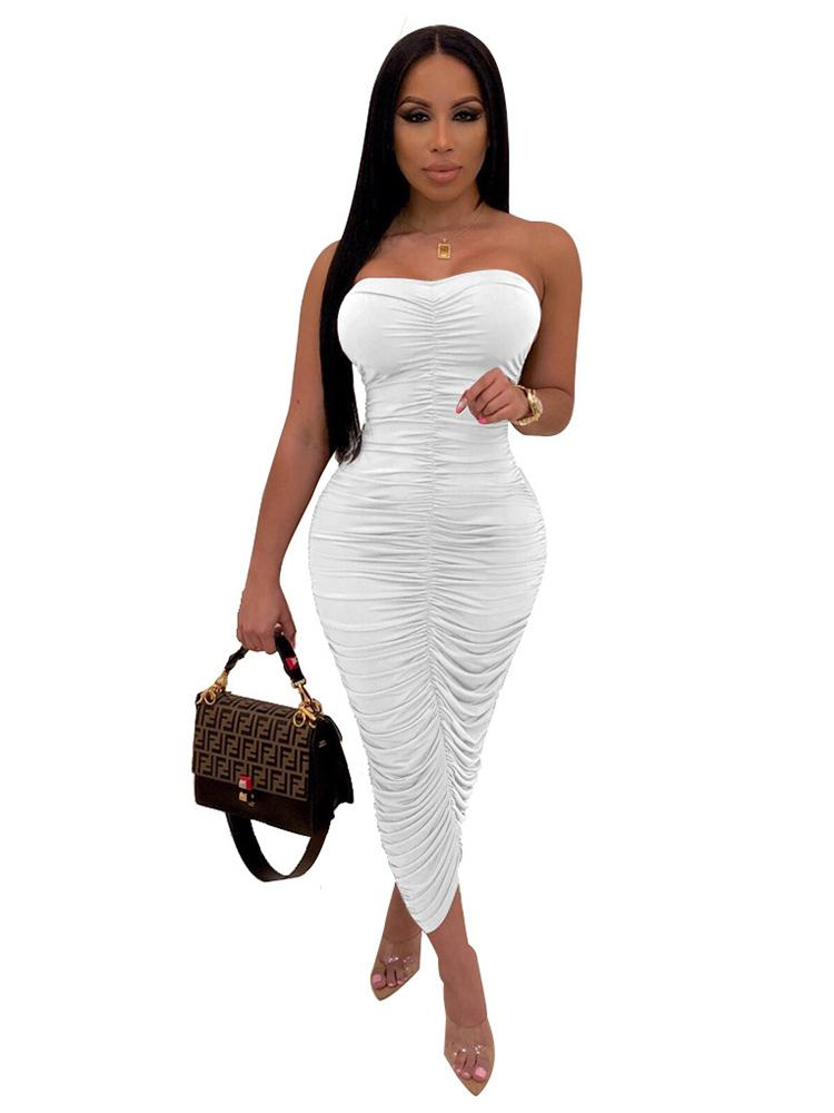 Jurllyshe Party Dresses Pleated Off The Shoulder Solid High Elastic Maxi Bodycon Dress