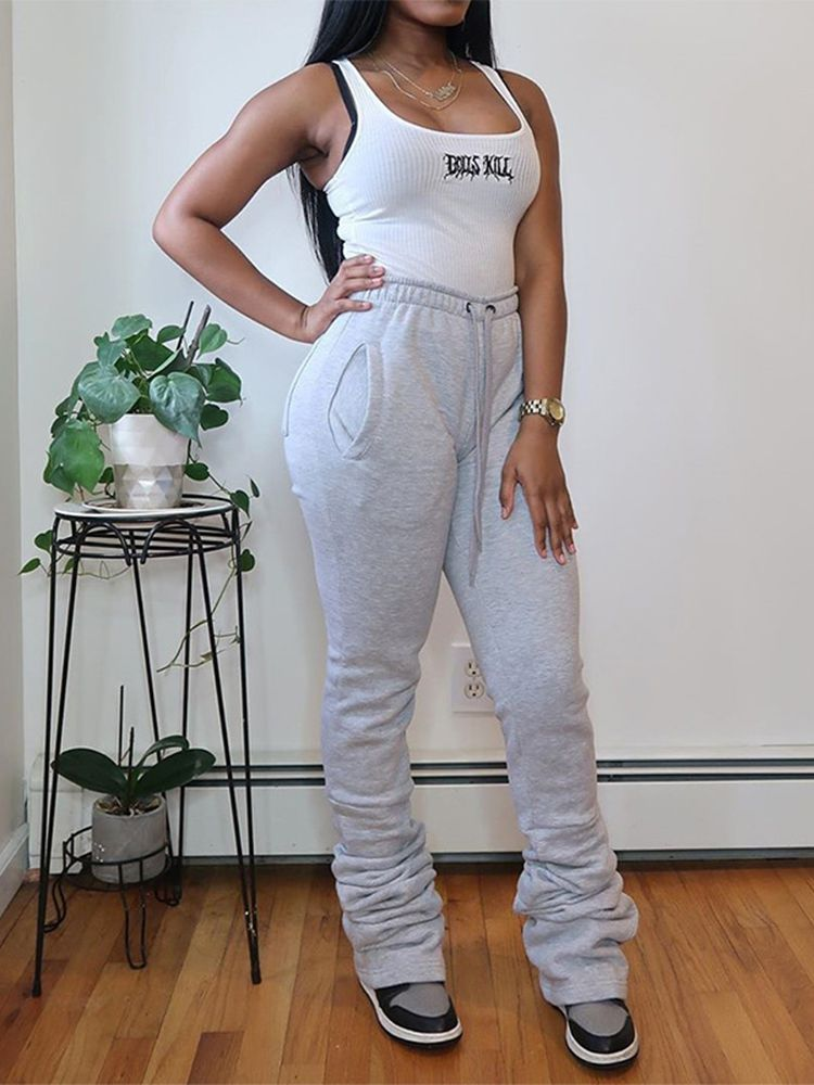 Jurllyshe Plush Solid Color Elastic High Waist Pleated Drawstring Casual Stacked Pants