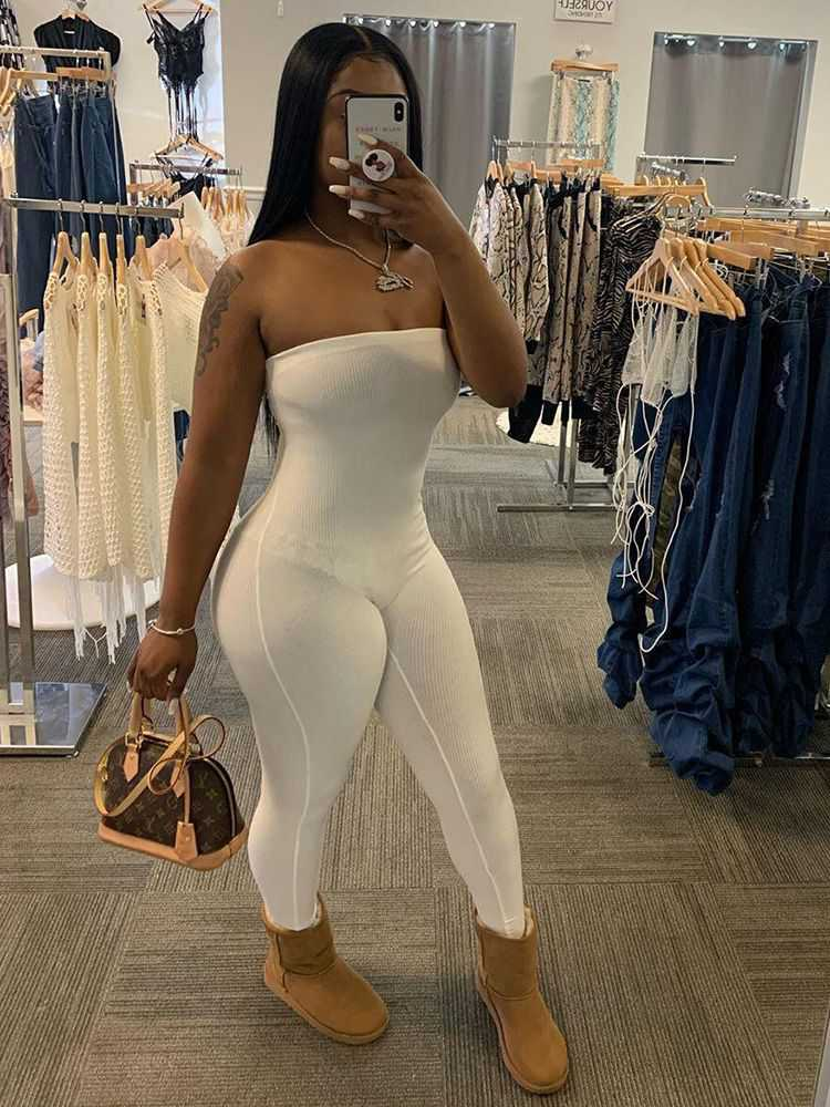 Jurllyshe Sexy Knitted Tube Jumpsuit