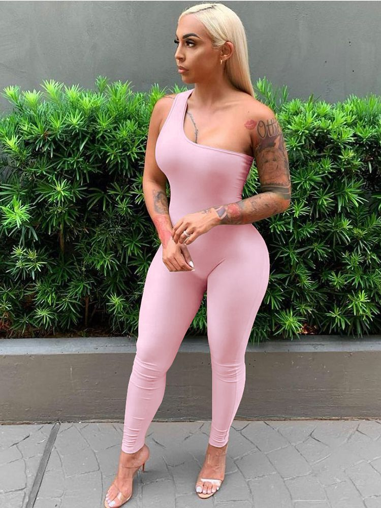Jurllyshe Sexy One Shoulder Sleeveless Hip Lifting Sports Casual Jumpsuit