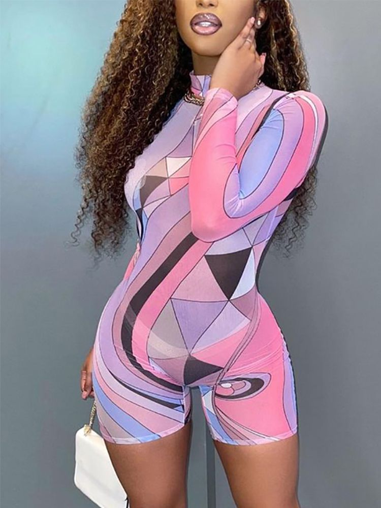 Jurllyshe Sexy Perspective Geo Pattern Print Tight Sports Long Sleeve Rompers
