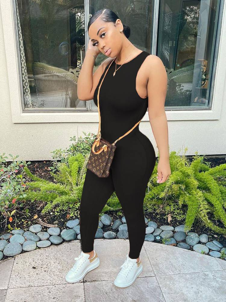 Jurllyshe Sleeveless Round Neck Fashion Casual Slim Solid Color Jumpsuit