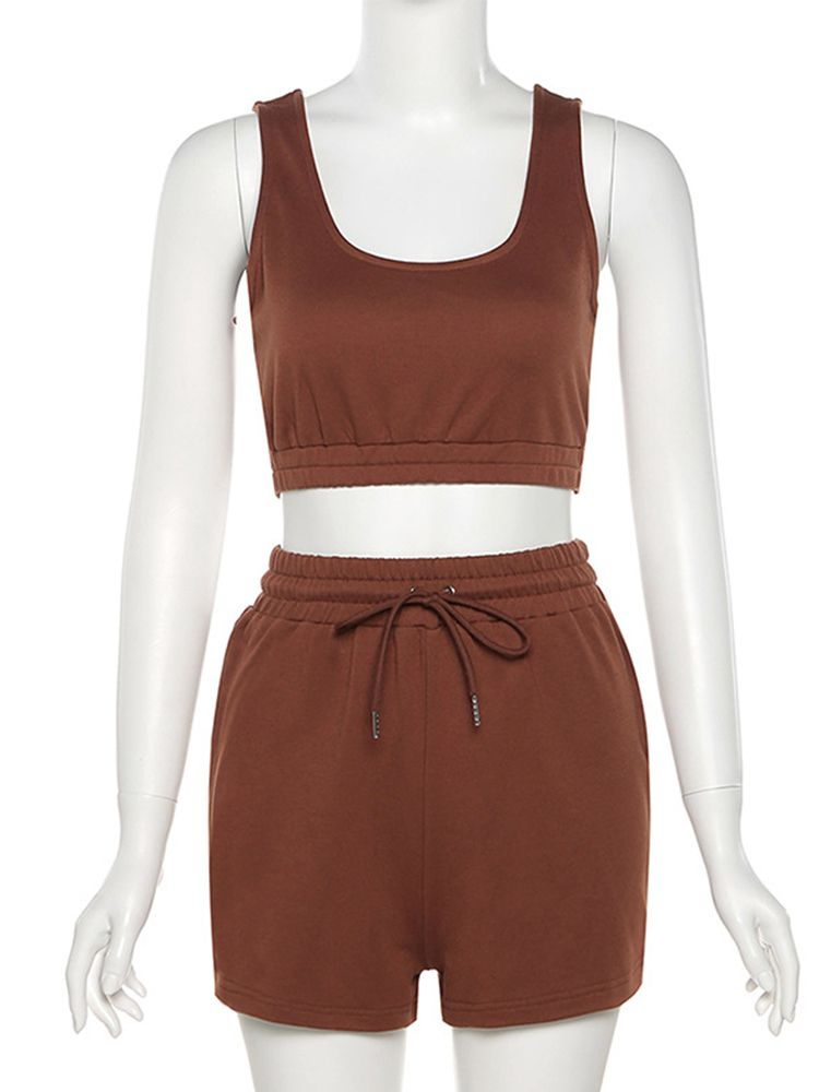 Jurllyshe Sleeveless Tank Crop Top With Elastic Waist Lace Up Sports Casual Shorts Set