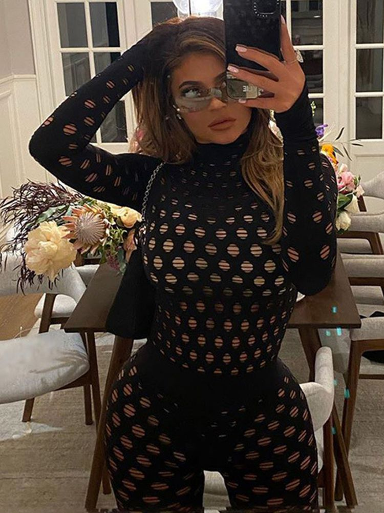 Jurllyshe Small Meshes Sexy Perspective Turtleneck Top With Leggings Sports Pants Set