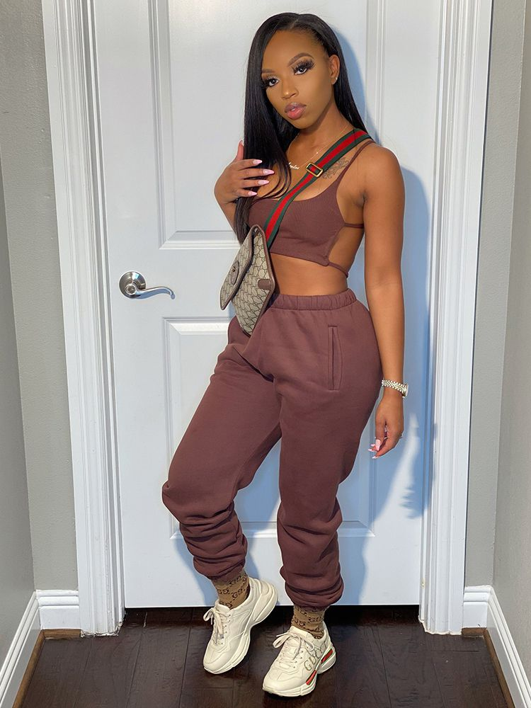 Jurllyshe Solid Color Backless Crop Top With Pants Casual Set