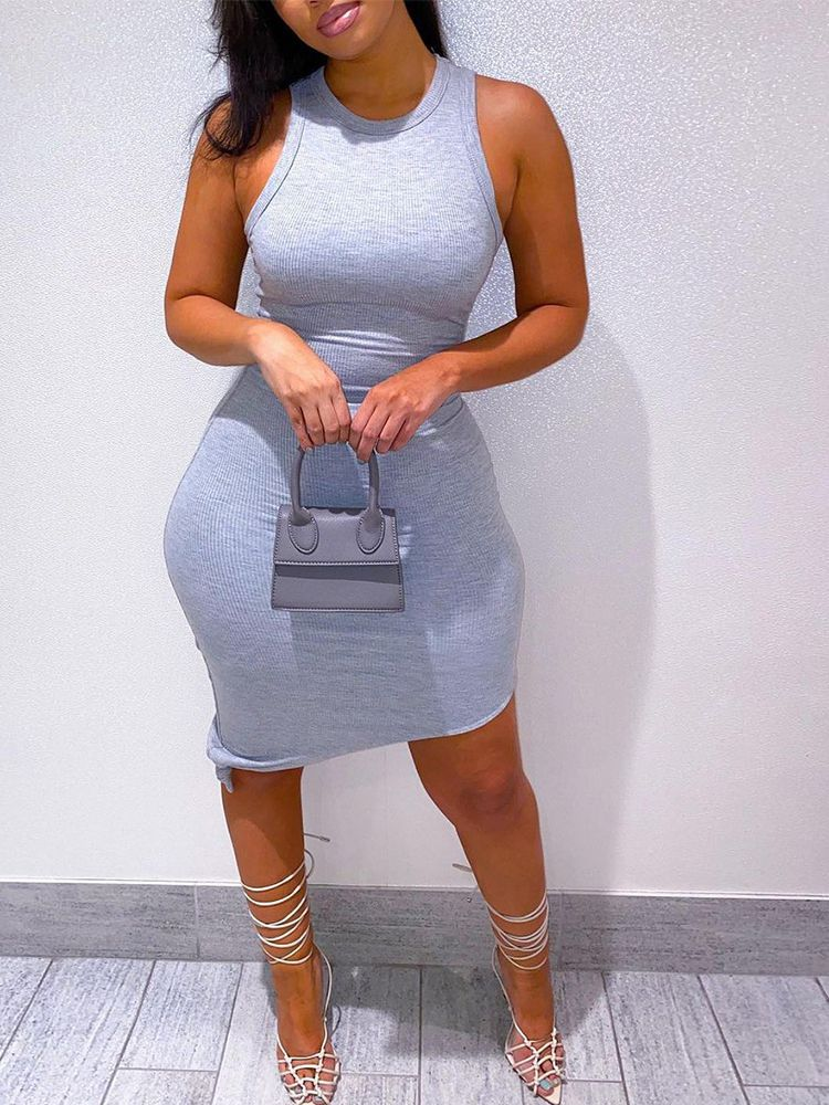 Jurllyshe Party Dresses Solid Color Round Neck Sexy Sleeveless Bodycon Dress