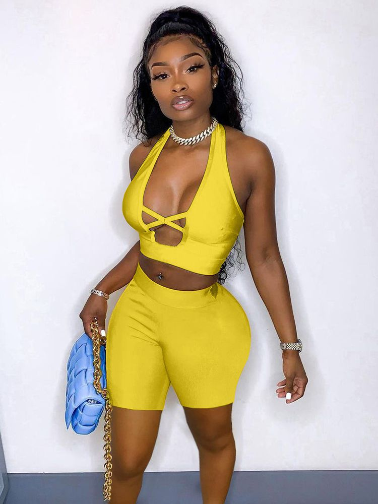 Jurllyshe Solid Sexy Hollow Halter Backless Top With Shorts Set