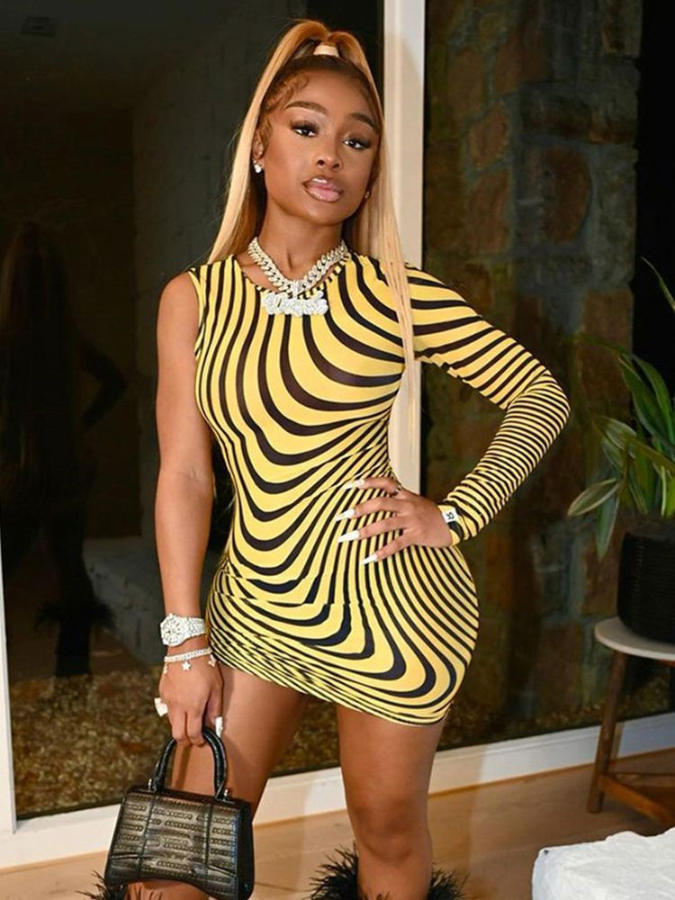 Jurllyshe Party Dresses Striped Printed Round Neck One Sleeve Sexy Bodycon Mini Dress