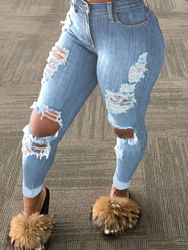 Jurllyshe Tattered Split Hole Fringed Tassel Street Fashionable Jeans Pants