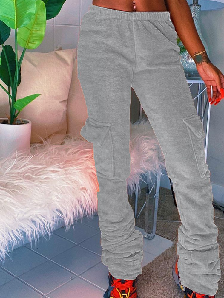 Jurllyshe Thickened Side Pocket Casual Solid Color Elastic Waist Stacked Leggings Pants