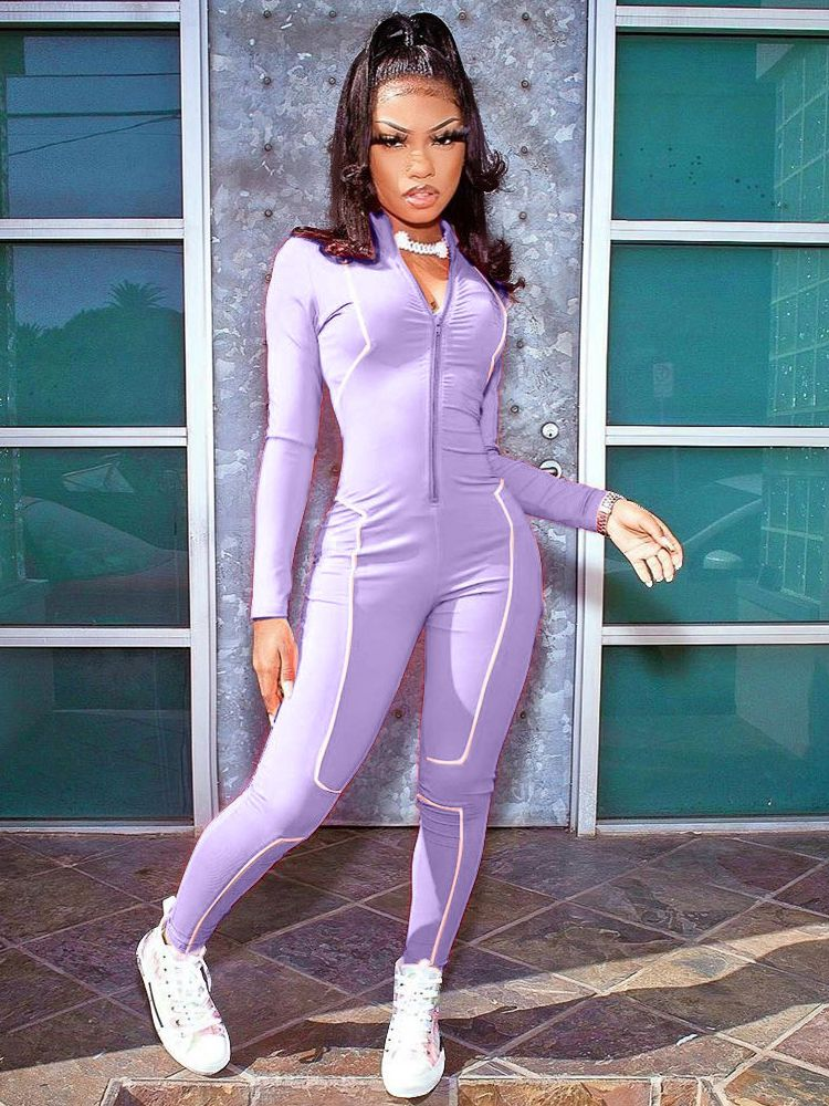 Jurllyshe Zipper Long Sleeve Contrast Line Fashion Casual Sports Splicing Jumpsuit