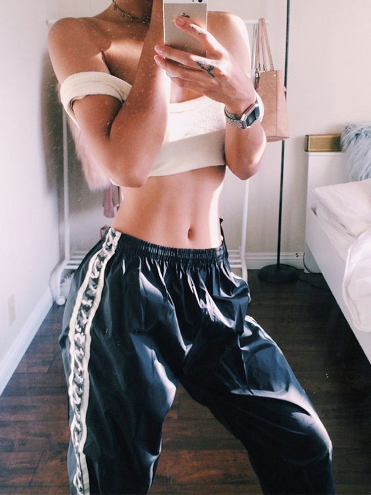 JurllyShe Side Camouflage Band Patchwork Trousers Camo Pants