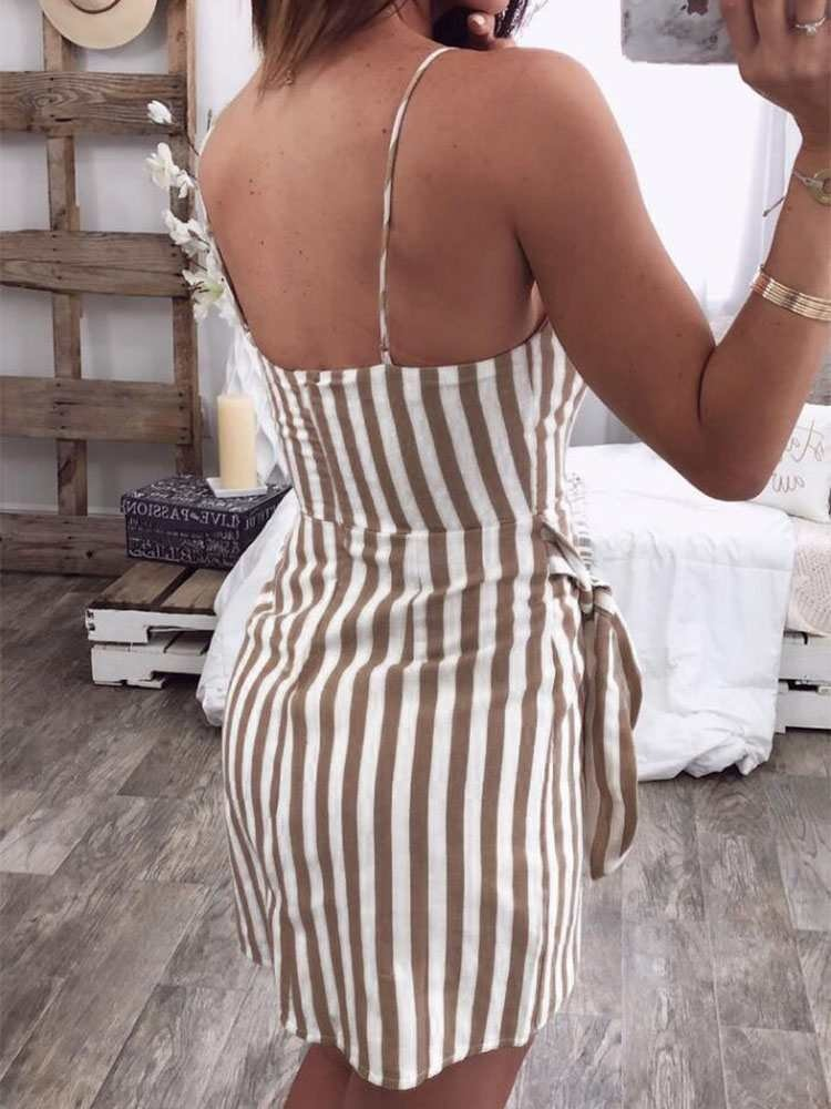 JurllyShe Asymmetrical  Overlap Vertical Stripe Cami Dress