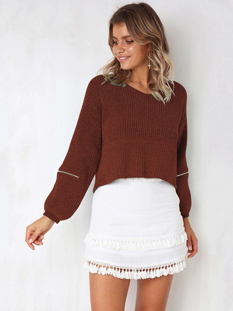 JurllyShe Drop Shoulder Zippers Loose Knitting Sweater