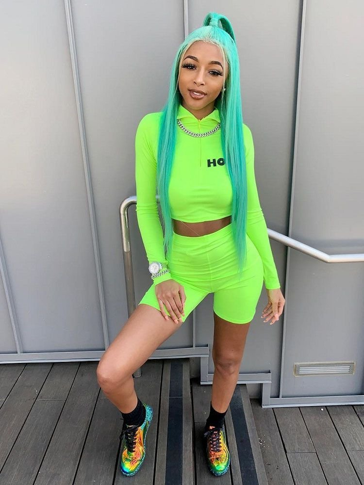 JurllyShe Neon Color Zip Up Crop And Leggings Shorts Two Piece Sets