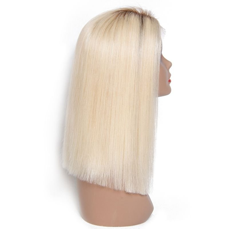 AfricanMall Pre-plucked Medium Ombre Color Straight Lace Front Human Hair Wig