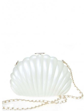 Crystal White Shell Clutch