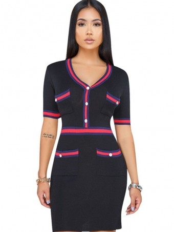 JurllyShe Button Up Striped Patchwork Bodycon Dress
