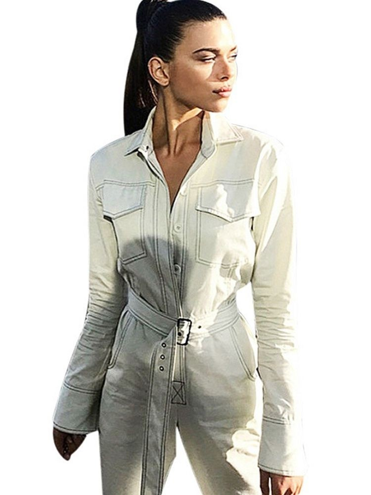 913a29fe8442 JurllyShe Button Front Self Belted Solid Jumpsuit