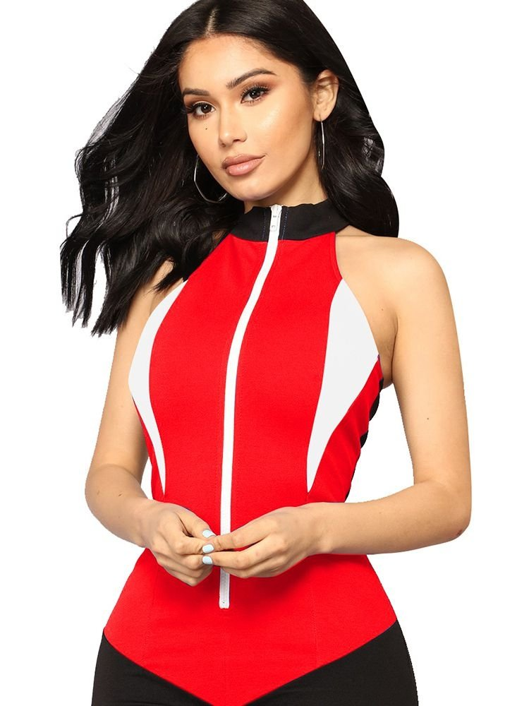 30785368388 JurllyShe Color Block Zip Front Sleeveless Sexy Romper Shorts-Red