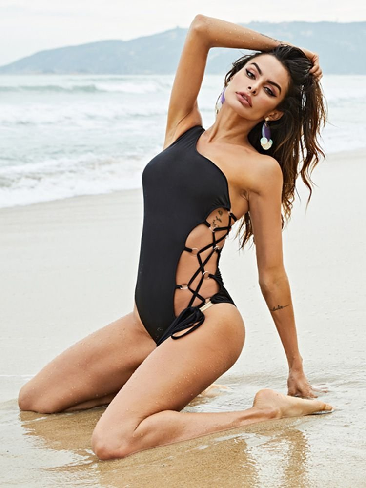 cae2b4bb586 JurllyShe One Shoulder Side Lace Up One-Piece Swimsuit
