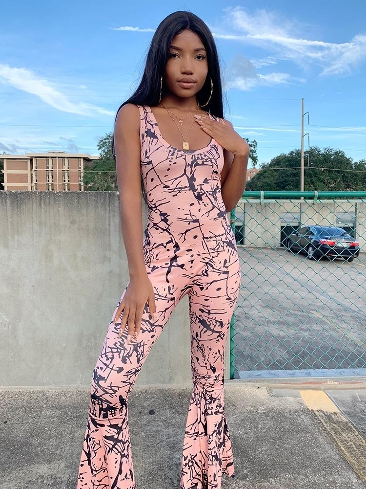 9434151e86ad JurllyShe Backless Printing Bell-Bottoms Jumpsuits