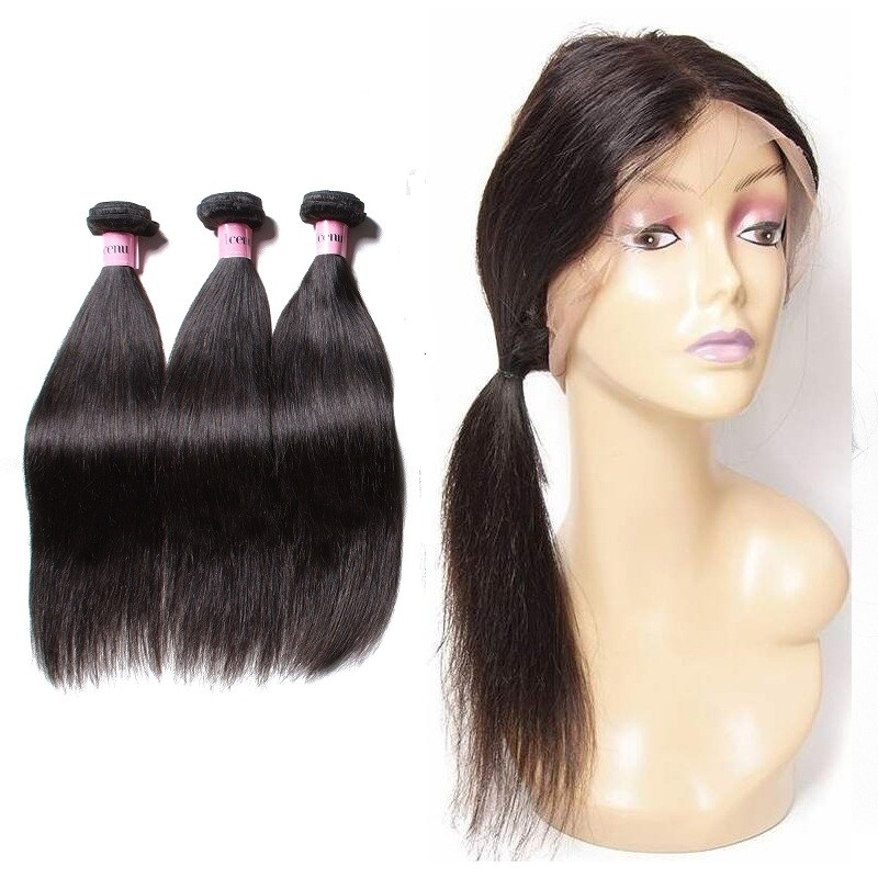 Unice Icenu Series Malaysian Straight Hair Weave With 360 Lace Closure