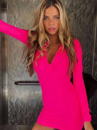 43583ef985d0b JurllyShe High Neck Zipper Up Neon Color Bodycon Dress